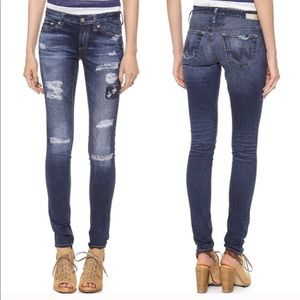 AG Digital Luxe Denim Distressed Jeggings